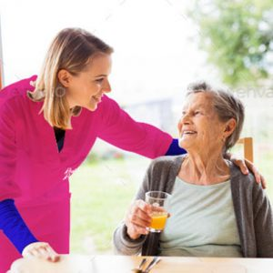 woman receiving care at home