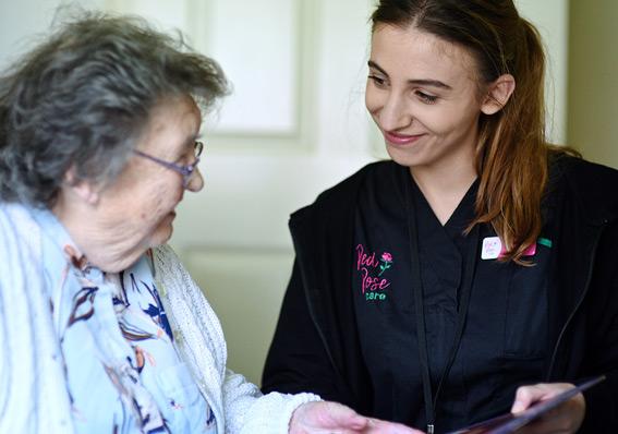 Red Rose Carer providing live-in care