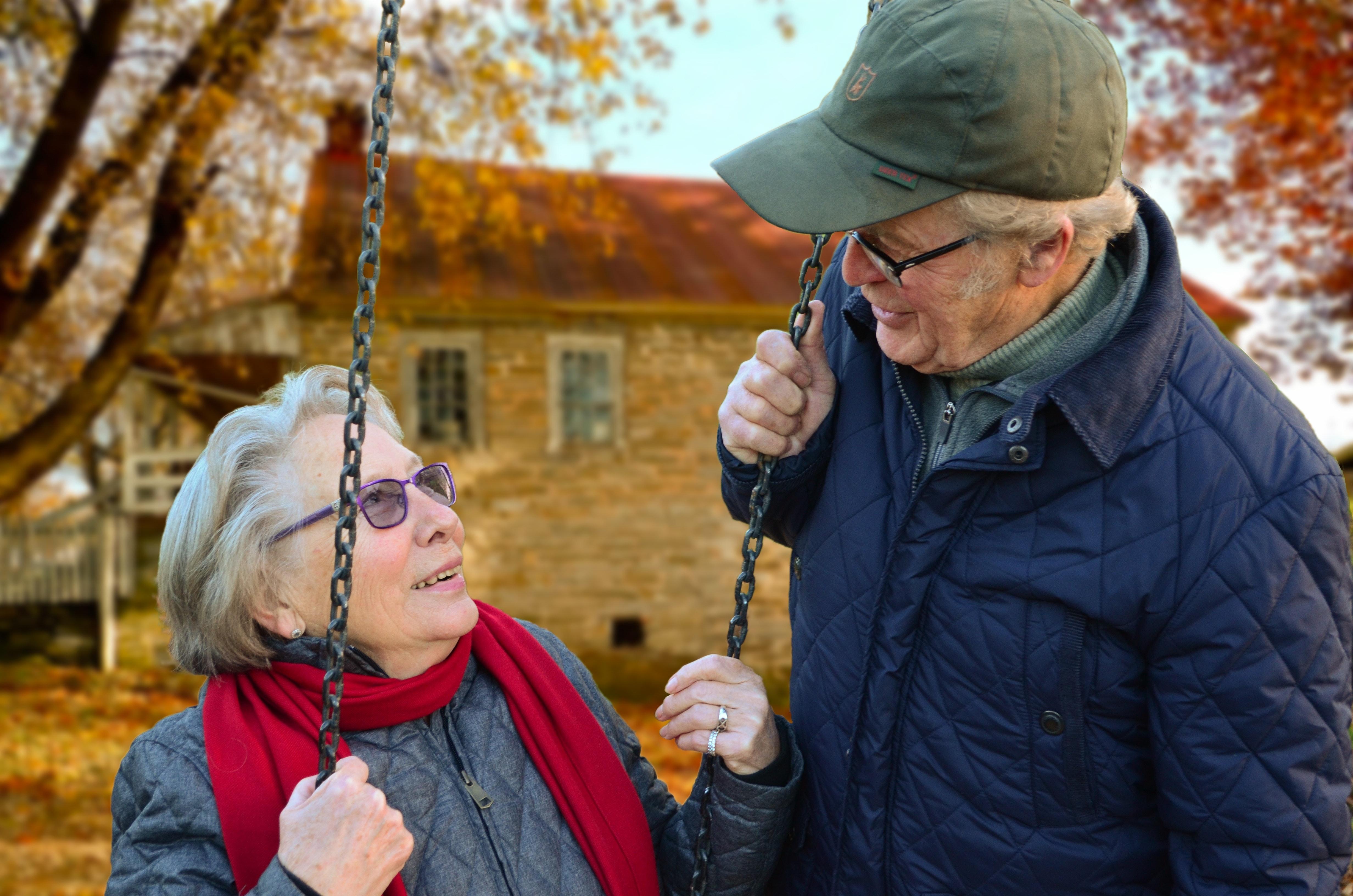 An older couple in a garden